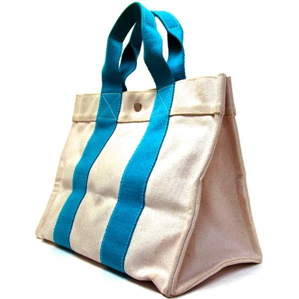 エルメス HERMES ハンドバッグ トートバッグ ボラボラPM 白×青  グレード:AB サンヤ質店