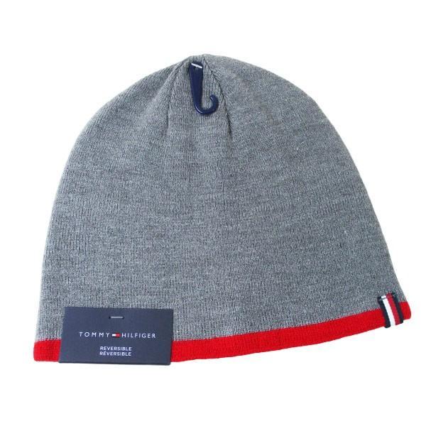 トミーヒルフィガー ニットキャップ ニット帽 グレイ/レッド メンズ レディース 1CT0203-645/送料無料メール便|saponintaiga