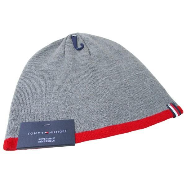 トミーヒルフィガー ニットキャップ ニット帽 グレイ/レッド メンズ レディース 1CT0203-645/送料無料メール便|saponintaiga|02