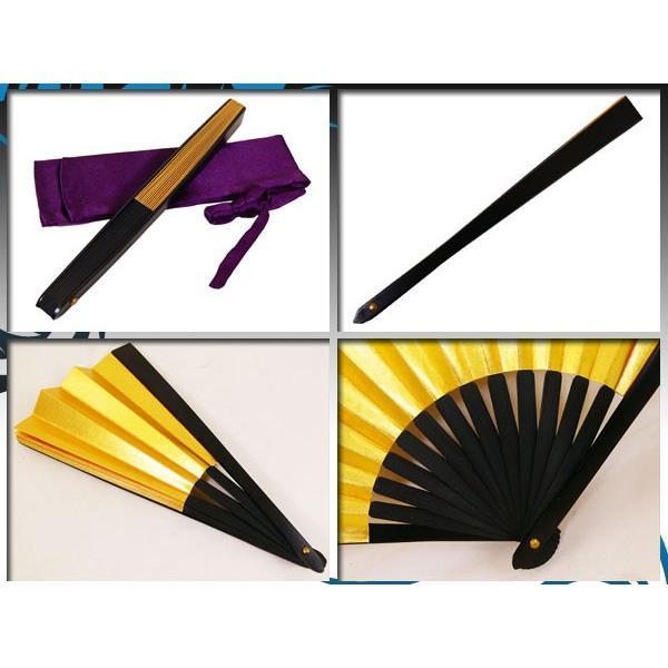 黒鉄扇 八寸 金色 伝統製法 日本製 鍛造/送料無料メール便|saponintaiga|04