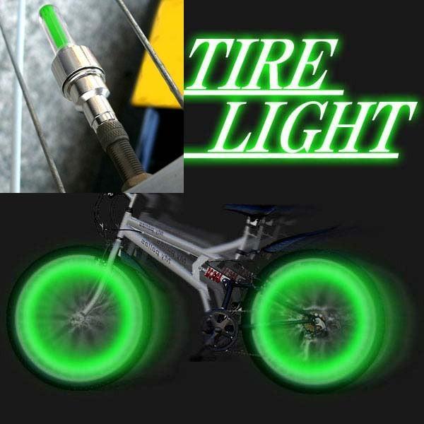 自転車バイク LED バルブライト 振動センサー タイヤライト グリーン x2本set/送料無料メール便 ポイント消化 saponintaiga