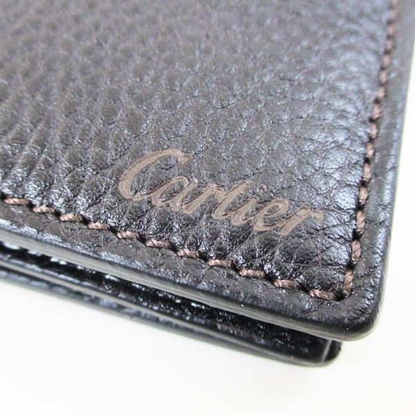 カルティエ 二つ折り財布 メンズ サドルステッチ L3001262 ダークブラウン 男性用 本革 カルチェ Cartier/送料無料|saponintaiga|05