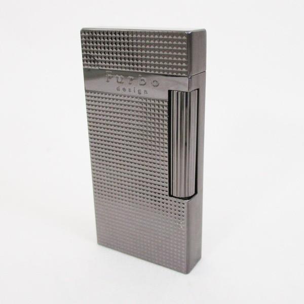 Furboフルボ フリントガスライターブラックニッケルサテーナ 格子彫刻 FD100-05 + ガス&フリントギフトセット/送料無料|saponintaiga