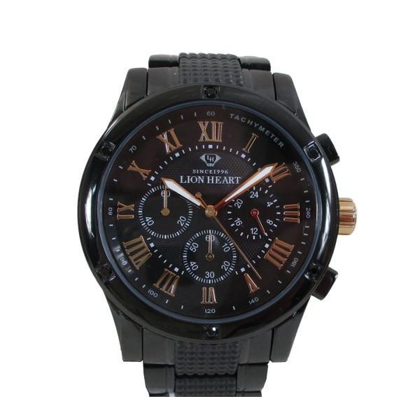 ライオンハート メンズ 紳士腕時計 黒文字盤 メタルバンド LHW101BBG/5850/送料無料|saponintaiga