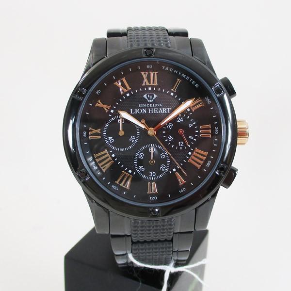 ライオンハート メンズ 紳士腕時計 黒文字盤 メタルバンド LHW101BBG/5850/送料無料|saponintaiga|02