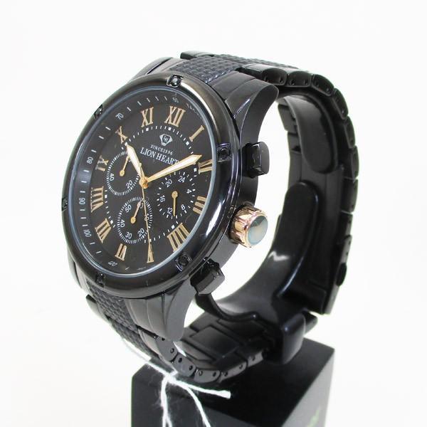 ライオンハート メンズ 紳士腕時計 黒文字盤 メタルバンド LHW101BBG/5850/送料無料|saponintaiga|03