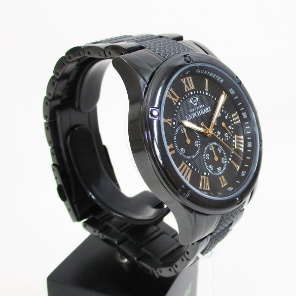 ライオンハート メンズ 紳士腕時計 黒文字盤 メタルバンド LHW101BBG/5850/送料無料|saponintaiga|04