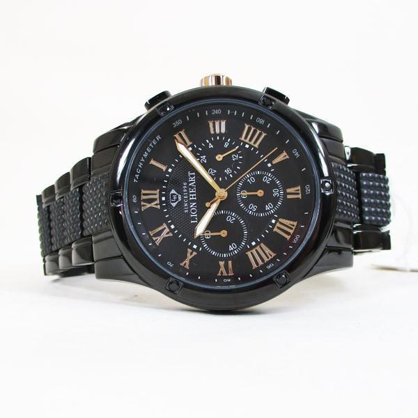 ライオンハート メンズ 紳士腕時計 黒文字盤 メタルバンド LHW101BBG/5850/送料無料|saponintaiga|05
