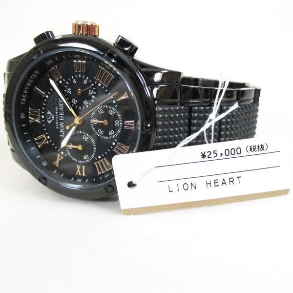 ライオンハート メンズ 紳士腕時計 黒文字盤 メタルバンド LHW101BBG/5850/送料無料|saponintaiga|06