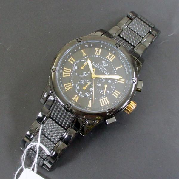 ライオンハート メンズ 紳士腕時計 黒文字盤 メタルバンド LHW101BBG/5850/送料無料|saponintaiga|08