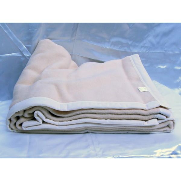 日本製 毛布 ベージュ 140x200cm ウール&アクリル|saponintaiga