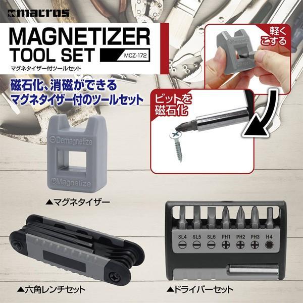 ドライバー&六角レンチ+マグネタイザー付 ツールセット MCZ-172/5273/送料無料|saponintaiga|02