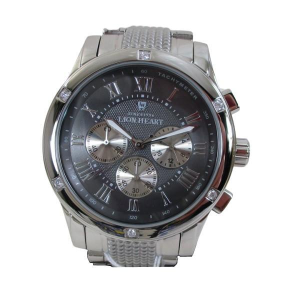 ライオンハート メンズ 紳士腕時計 黒文字盤 メタルバンド LHW101SGY/5843/送料無料|saponintaiga