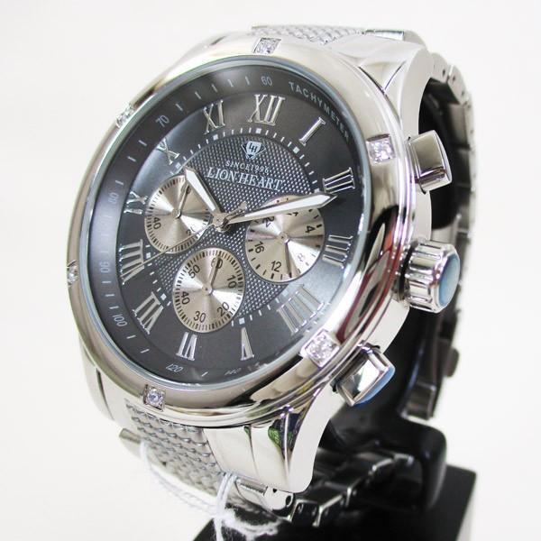 ライオンハート メンズ 紳士腕時計 黒文字盤 メタルバンド LHW101SGY/5843/送料無料|saponintaiga|03