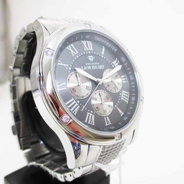 ライオンハート メンズ 紳士腕時計 黒文字盤 メタルバンド LHW101SGY/5843/送料無料|saponintaiga|04