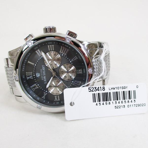 ライオンハート メンズ 紳士腕時計 黒文字盤 メタルバンド LHW101SGY/5843/送料無料|saponintaiga|05