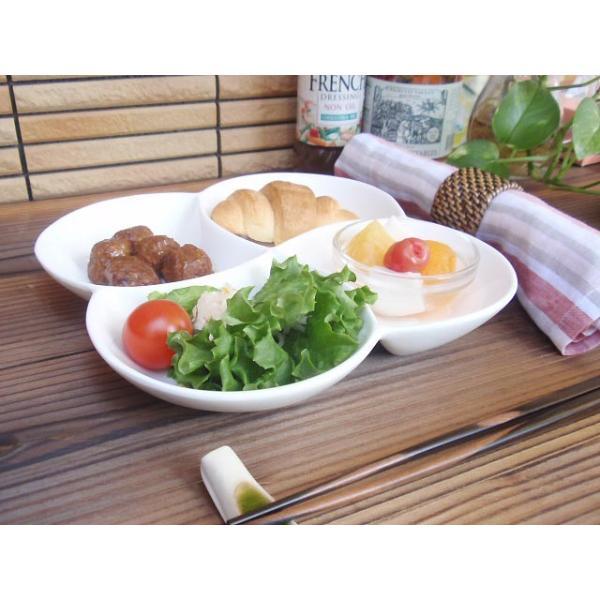洋食器 アウトレット 強化クリーミーホワイト 四品のアペタイザープレート 4つ仕切  M sara-cera-y 02