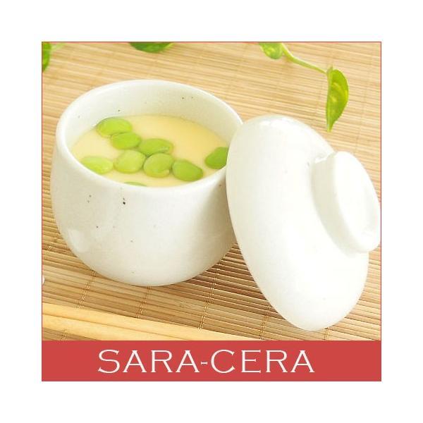 和食器 茶碗蒸し碗 蓋付き 和食器 日本製 ひょうたん粉引   sara-cera-y
