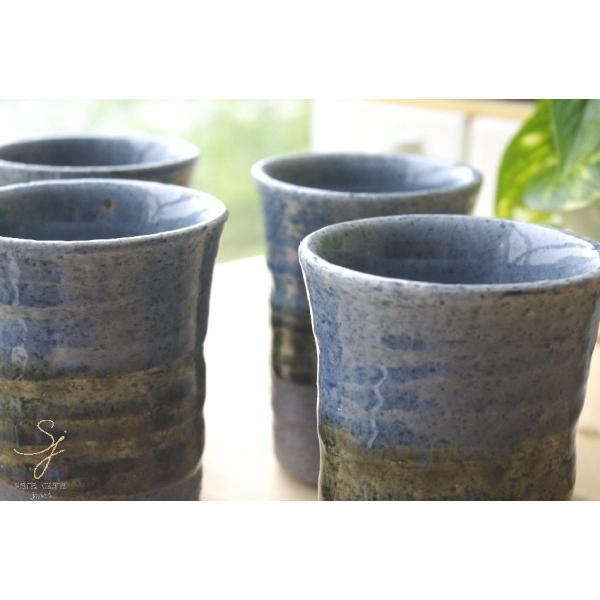 送料無料 松助窯 フリーカップ 4個セット 藍染め釉 手ひねり 美濃焼  食器セット ギフト sara-cera 03