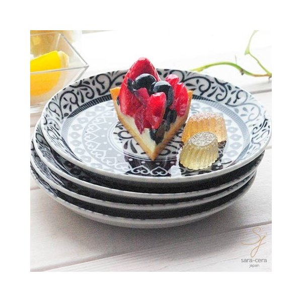 4枚セット 美しいボレスワヴィエツの街 シノワズリブラック パンプレート シェアプレート 15.5cm ポタリー風 黒 食器セット ギフト
