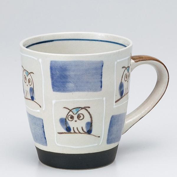 和食器 柚子市松ふくろう マグカップ 青 カフェ コーヒー 紅茶 珈琲 お茶 オフィス おうち 食器 陶器 おしゃれ うつわ