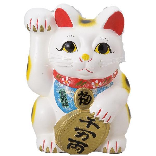 白ネコ左 8号 ネコ ねこ 縁起物 置物 ギフト 厄除け 開運 雑貨 金運 招き猫|sara-cera