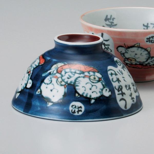 和食器 粉引招き猫青 ご飯茶碗 茶漬け 大盛 飯碗 茶碗 めし 男性 父の日 ねこ 猫 ネコ キャット おうち うつわ 陶器 日本製 らいすぼーる sara-cera