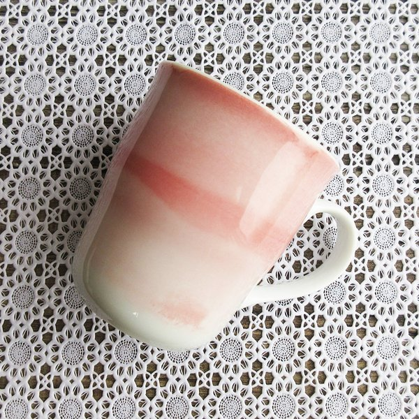 ピンク筆巻きマグカップ