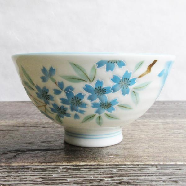 枝桜 ご飯茶碗 水色 100円