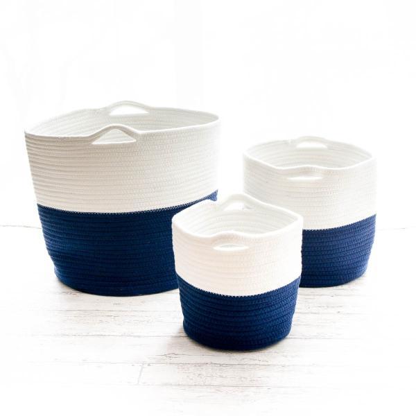 洗濯かご 小物入れ まとめ買い[セット販売●b2c ツートンコットンロープバスケット(ツートン/上ホワイト&下ネイビー)【SML各1個計3個】] sarasa-designstore