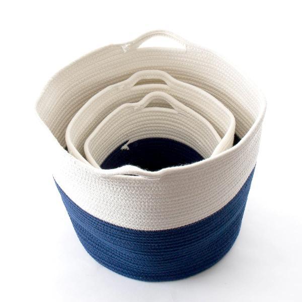 洗濯かご 小物入れ まとめ買い[セット販売●b2c ツートンコットンロープバスケット(ツートン/上ホワイト&下ネイビー)【SML各1個計3個】] sarasa-designstore 02