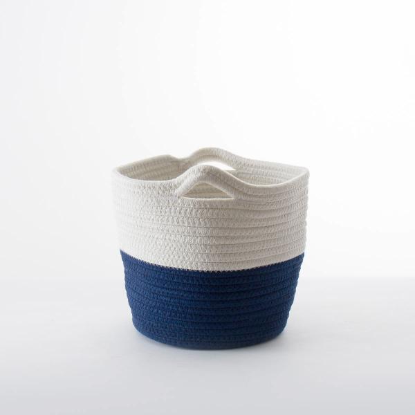 洗濯かご 小物入れ まとめ買い[セット販売●b2c ツートンコットンロープバスケット(ツートン/上ホワイト&下ネイビー)【SML各1個計3個】] sarasa-designstore 04