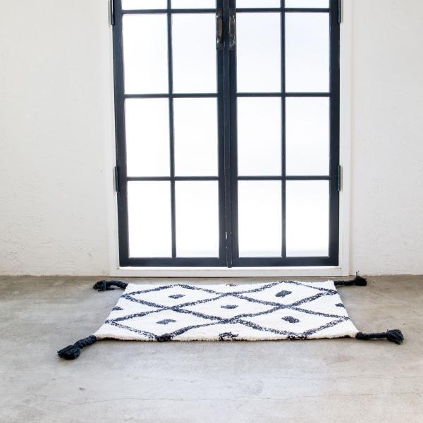玄関マット エントランスマット ミニラグ フロアマット 足マット 洗える タッセル [b2c コーナーマット チェック] sarasa-designstore