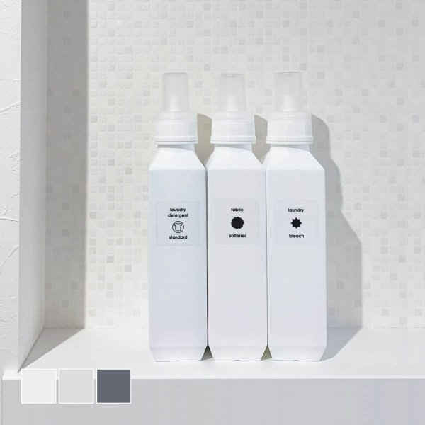 洗剤ボトル 洗濯洗剤 柔軟剤 スリム 詰替 モノトーン シンプル[b2c ランドリーボトル L 1000ml]