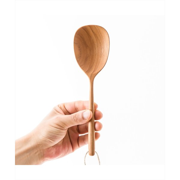 木 木製 ウッド 天然 カトラリー 食器[b2c チークサービングツール ラージスプーン]|sarasa-designstore|04