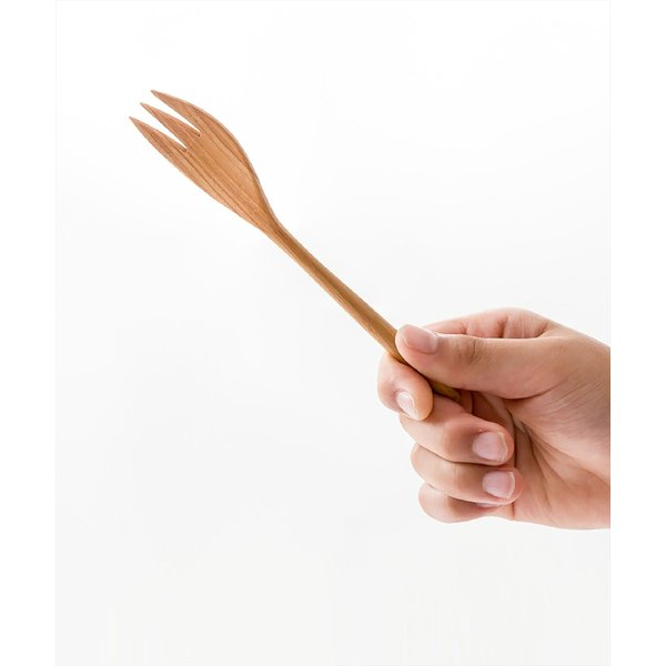 メール便対応|デザートフォークとしておすすめのチーク製のウッドカトラリー/b2cチークフォーク S|sarasa-designstore|02