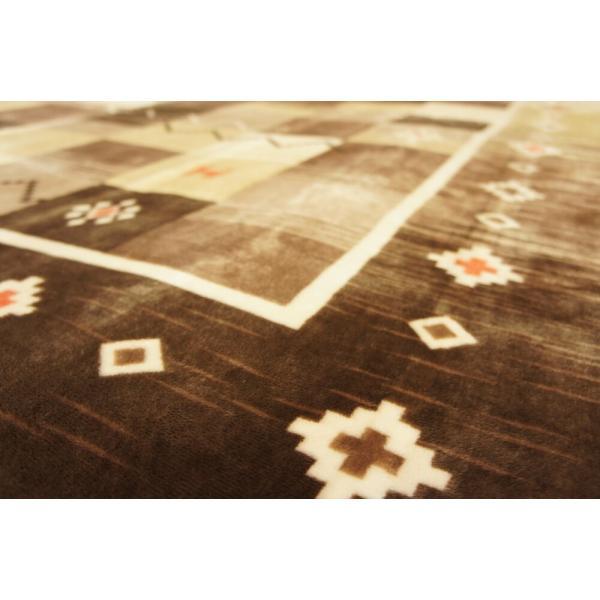 200x250cm 「ギャベ」柄のご家庭で洗えるラグ ブラウン色 【不織布貼】|saruru|02