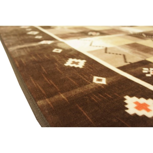 200x250cm 「ギャベ」柄のご家庭で洗えるラグ ブラウン色 【不織布貼】|saruru|03