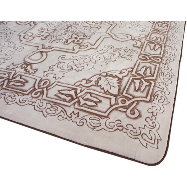 185x185cm 贅沢立体手彫りカービングラグ「ロイヤルスノー」ブラウン(ホワイト)色|saruru|03