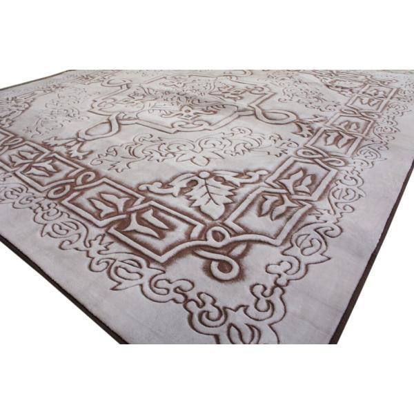 185x185cm 贅沢立体手彫りカービングラグ「ロイヤルスノー」ブラウン(ホワイト)色|saruru|04