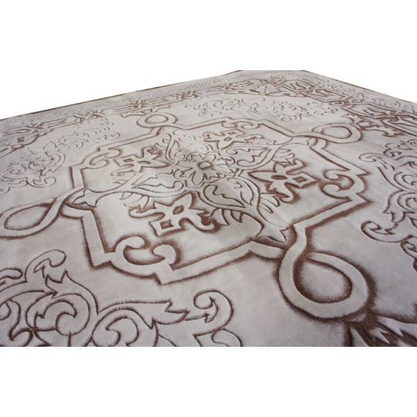 185x185cm 贅沢立体手彫りカービングラグ「ロイヤルスノー」ブラウン(ホワイト)色|saruru|05