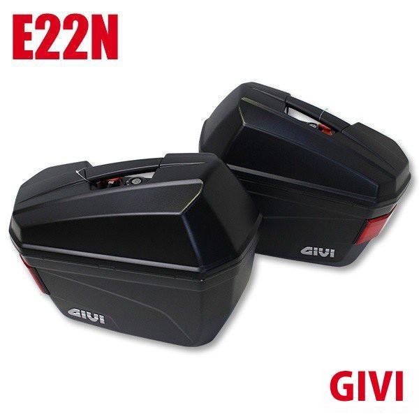 GIVIジビサイドケースリアボックスパニアケース未塗装ブラック容量22LE22Nバイク用ボックスGIVI製高品質サイドボックス