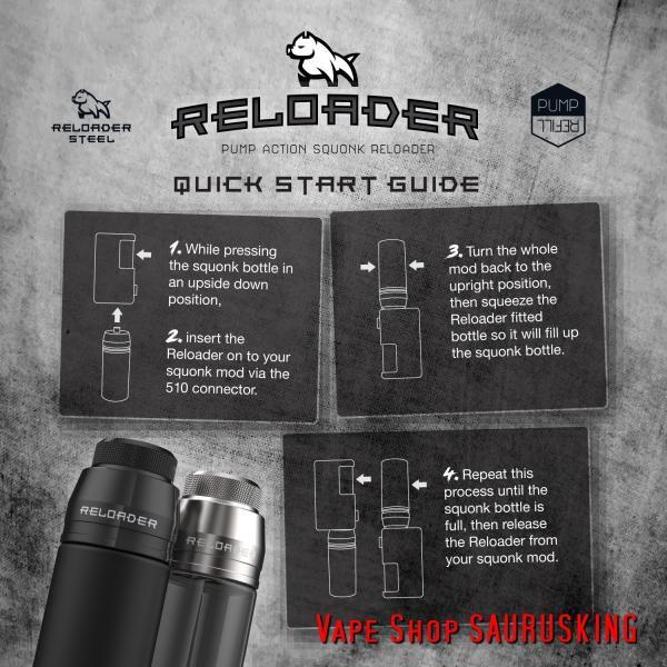Reloader by Bombertech ブラック / リローダー by ボンバーテック 60ml ユニコーンボトル用 キャップ *正規品*リキッドチャージに saurusking 04
