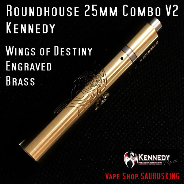 Kennedy Roundhouse Wings of Destiny Brass 25mm Combo V2 / ケネディ*正規品*VAPE RDA + Mechanical Tube MOD|saurusking|02