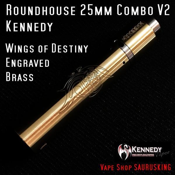 Kennedy Roundhouse Wings of Destiny Brass 25mm Combo V2 / ケネディ*正規品*VAPE RDA + Mechanical Tube MOD|saurusking|03