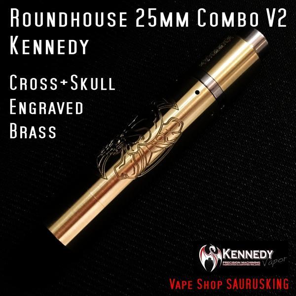 Kennedy Roundhouse Cross+Skull Brass 25mm Combo V2 / ケネディ*正規品*VAPE RDA + Mechanical Tube MOD メカニカル|saurusking|02