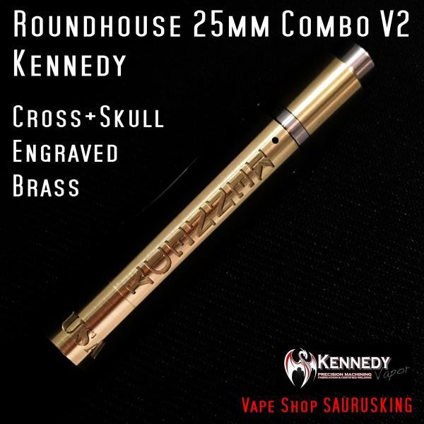 Kennedy Roundhouse Cross+Skull Brass 25mm Combo V2 / ケネディ*正規品*VAPE RDA + Mechanical Tube MOD メカニカル|saurusking|03