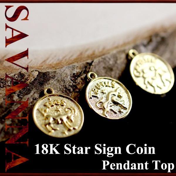 K18スターサインコイン ペンダントTOP 18金 ネックレス 18k チャーム 星座 ハワイアンジュエリー ゴールド yメンズ コイン
