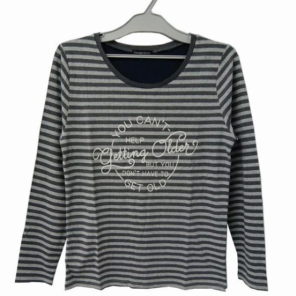 婦人長袖ボーダープリントTシャツ M〜LL ロゴ 【秋物】|sawadaya-net|03