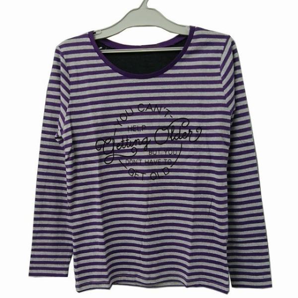 婦人長袖ボーダープリントTシャツ M〜LL ロゴ 【秋物】|sawadaya-net|05